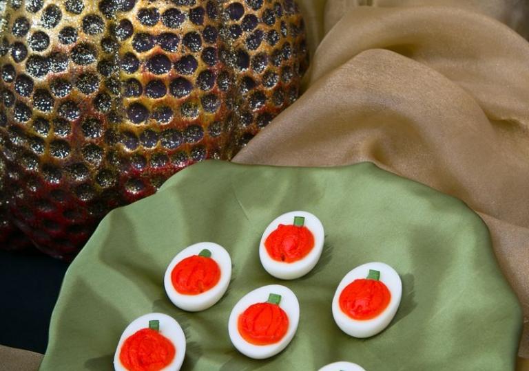 Pumpkin Deviled Eggs