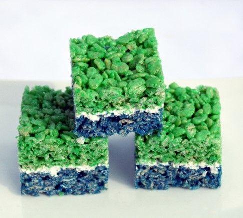 Blue and Green Rice Krispie Treats
